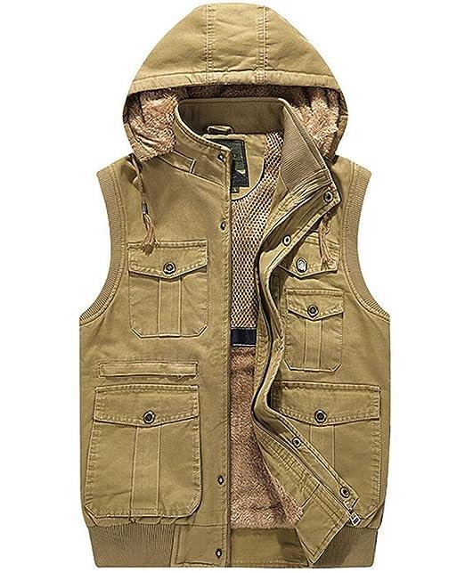 8fa472c84 JEWOSOR Men's Military Gilets Vest Outdoor Multi Pockets Sleeveless Hooded  Jacket
