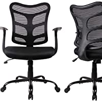 Ergonomic Office Chair Mid Back Mesh Computer Desk Swivel Task Chair with Armrests, Black [1 PCS]