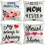 WLNUI Mother's Day Pillow Covers 18x18 Inch for Mother's Day Home Decorations Set of 4 Happy Mother's Day Flower Decorative T