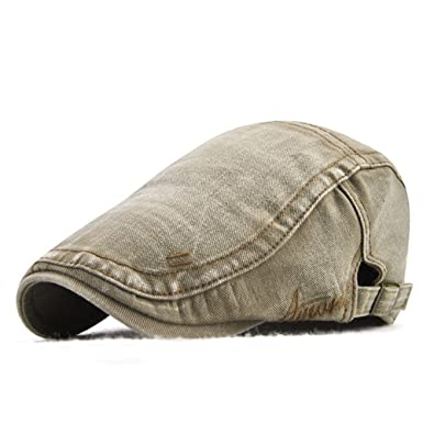 ee0a697bae0 Decstore Men s Cotton Flat Cap Ivy Cabbie Driving Hat Gatsby Newsboy Cap (Beige)