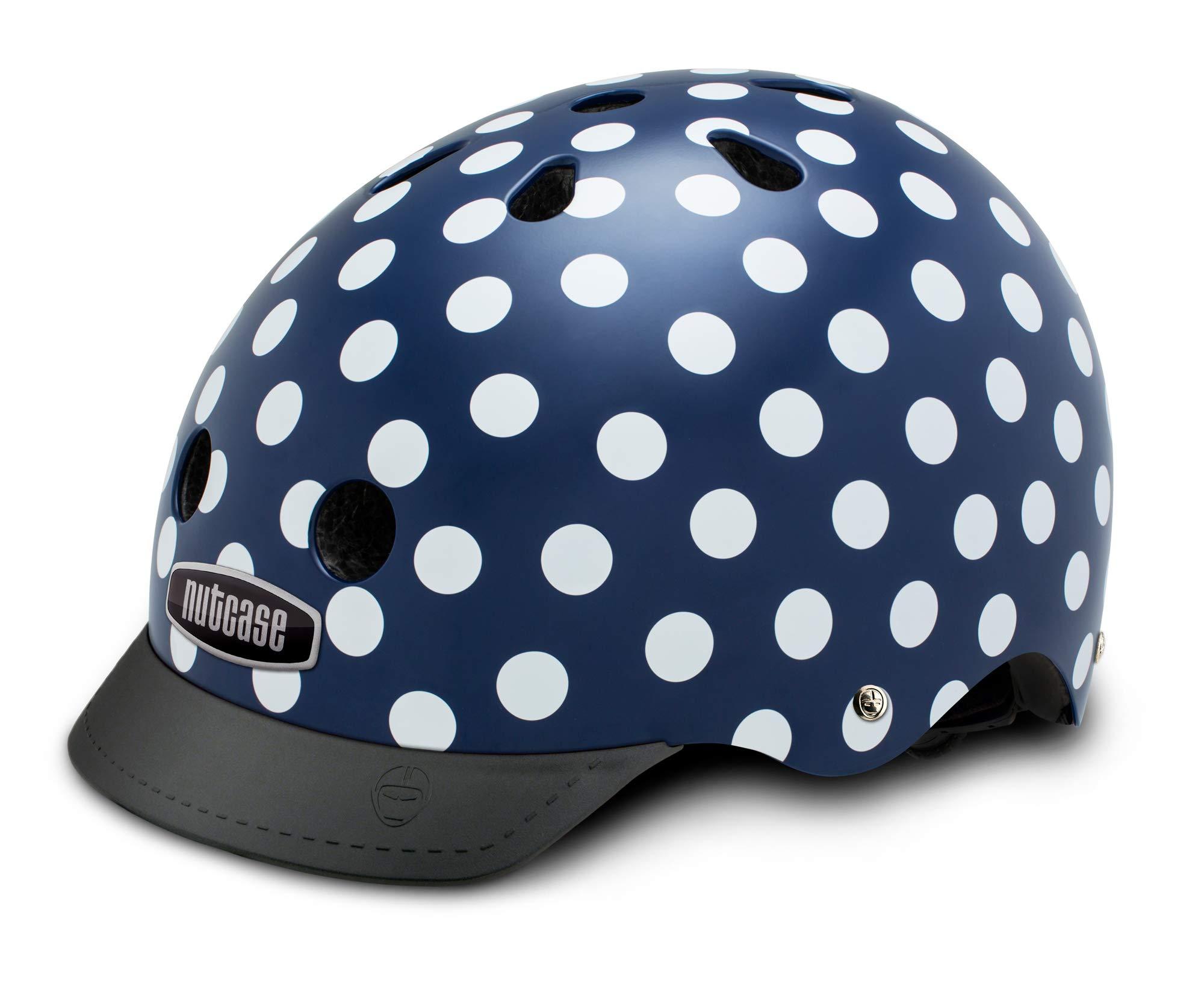Nutcase - Patterned Street Bike Helmet for Adults, Navy Dots, Large by Nutcase