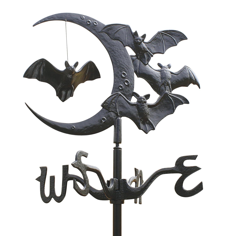 Design Toscano WH60121 Crescent Moon Vampire Bats Metal Roof Mount Weathervane