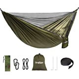 Double Single Camping Hammock,Portable Hammock with Net and Tree Straps,Lightweight Parachute Nylon Hammock for Backpacking T