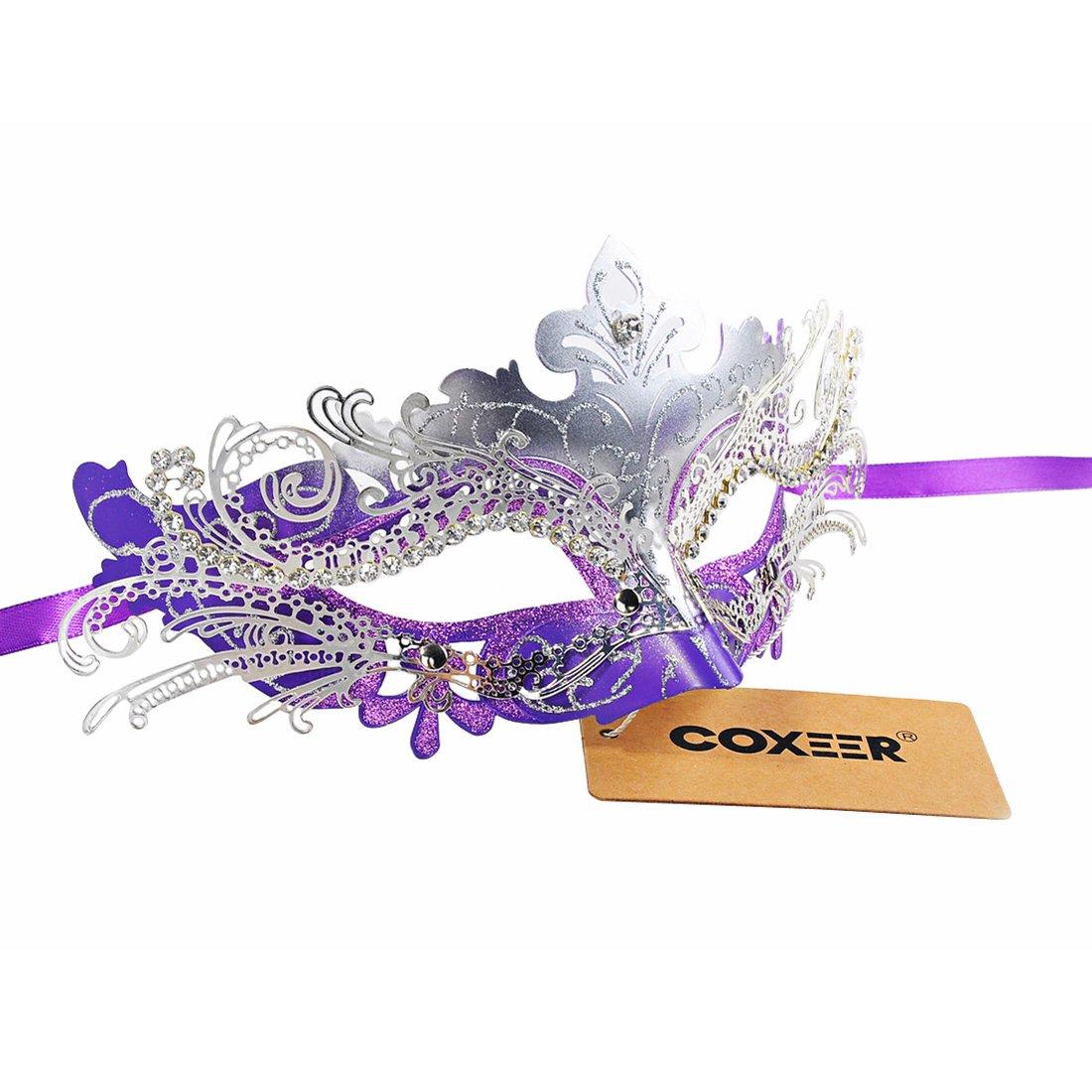 Coxeer Luxury Masquerade Halloween Mask Metal Laser-cut Rhinestone Evening Prom Venetian Mardi Gras Party Mask
