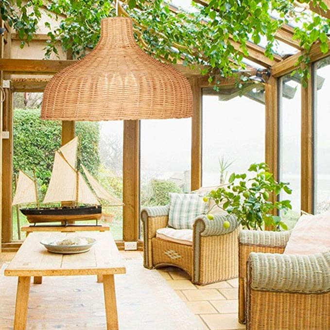 CQLAN Pantalla de bambú Tejido de Mimbre Ratán Lámpara de bambú Lámpara Colgante Moderno Dormitorio Natural Living para Cocina Sala Lámpara de Techo E27: Amazon.es: Hogar