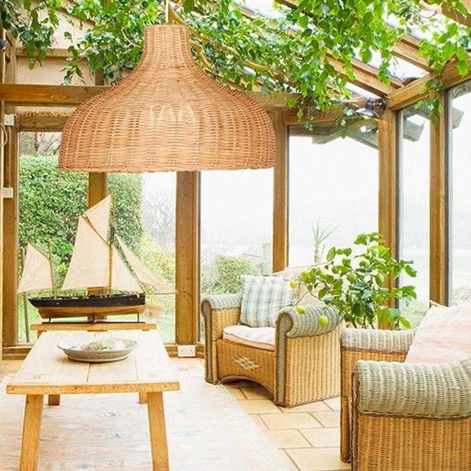 CQLAN Lámpara de araña de bambú Vintage jardín Creativo lámpara de Techo de Sombrero de Paja de bambú Pantalla de Mimbre de ratán Tropical para Sala de Estar Dormitorio Cocina café,35CM: Amazon.es: