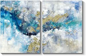 Blue Abstract Canvas Wall Art: White and Blue Painting Hand Painted Picture for Bedroom ( 24'' x 18'' x 2 Panels )