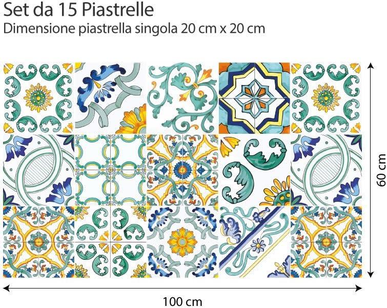 wall art Confezione 15 Pezzi Adesivi per Piastrelle Formato 20x20 cm - Made in Italy - PS00103 Adesivi in PVC per Piastrelle per Bagno e Cucina Stickers Design - Zante