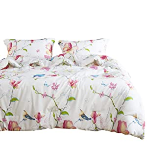 Wake In Cloud - Floral Duvet Cover Set, 100% Cotton Bedding, Botanical Flowers and Birds Pattern Printed, with Zipper Closure (3pcs, Queen Size)