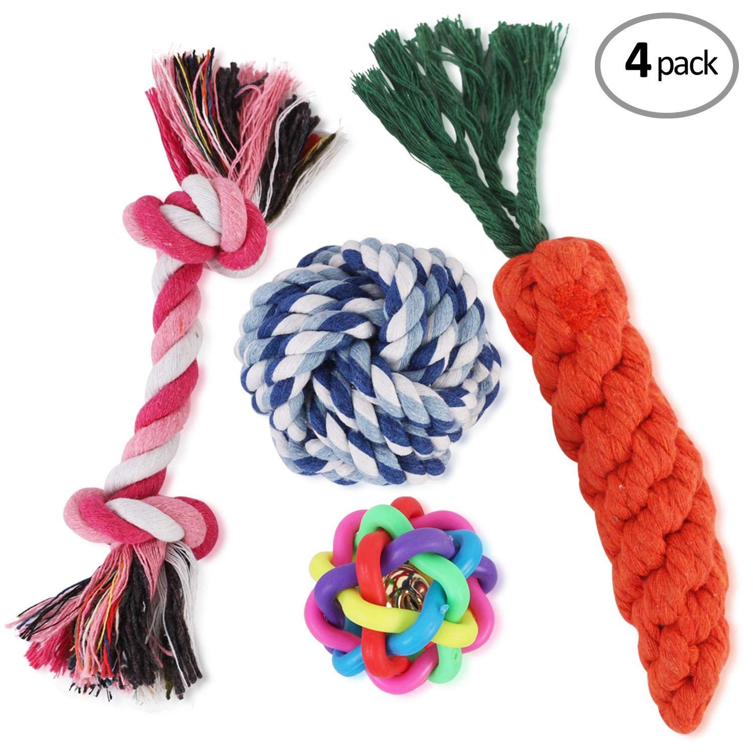 WOT I Dog Rope Toys Dog Chew Toys Set of 4/5/6/10 Durable Cotton Dog Toys for Small and Medium Dogs Small Dog Rope Toys for Training Tug-of-War Playing-Dog Rope Toy for Small Dogs