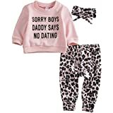 Newborn Baby Boy Girl Leopard Outfit Sorry Boys Daddy Says No Dating Shirt Leggings Pants Headband Fall Clothes