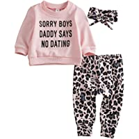 Infant Baby Girls Clothes Set Ruffled Leopard Long Sleeve Sweatshirt Top Long Pants Outfit Set with Headband 3pcs…