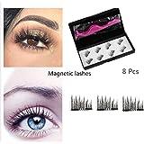 Magnetic Eyelashes, RVZHI Premium Quality False Eyelashes Set With Eyelash Tweezer, Ultra Thin 3D Fiber Magnetic Lashes Fake Lashes Extensions, Natural Look Easy to Apply Reusable-8Pcs-1