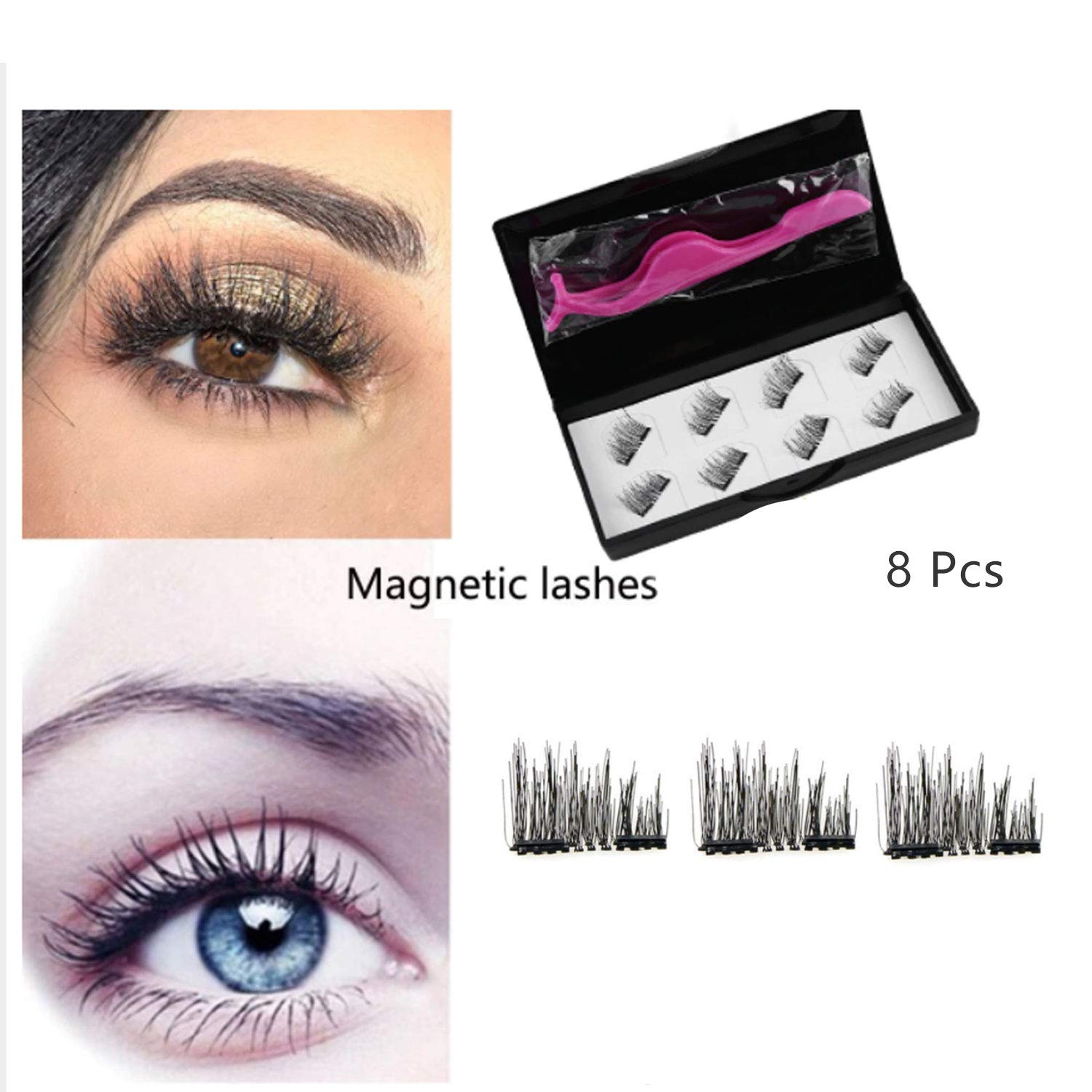 f3011d65add Magnetic Eyelashes, RVZHI Premium Quality False Eyelashes Set With Eyelash  Tweezer, Ultra Thin 3D