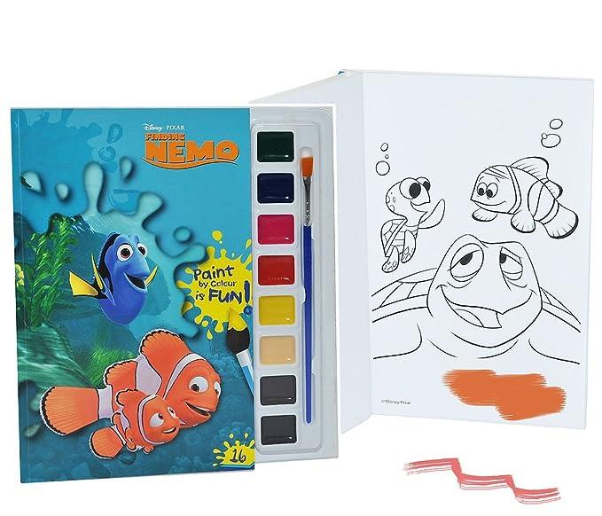 Malbuch / Malblock mit 8 Wasserfarben + Pinsel - Disney Findet Nemo ...