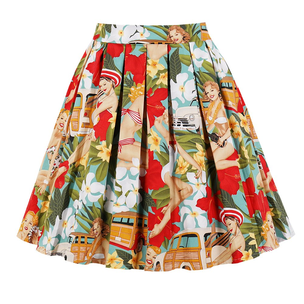 be31074bd6b Features  This vintage 1950s swing skirt is pleated design  Knee Length   Midi Skirts  Elastic Waistband in the back  Vibrant Character and Floral  Print  ...