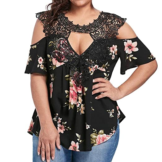 f6b470bc8d5231 Lelili Women Fashion Shirt Plus Size Sexy Floral Lace Cold Shoulder Short  Sleeve V Neck Tunic Tops Blouse Shirt at Amazon Women's Clothing store: