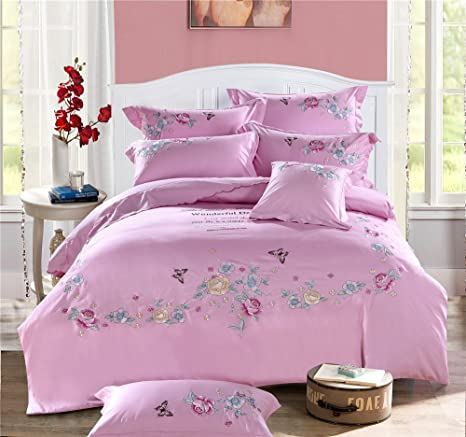 Dodou Rose Garden Theme Broderie Housse De Couette Drap Traditionnel
