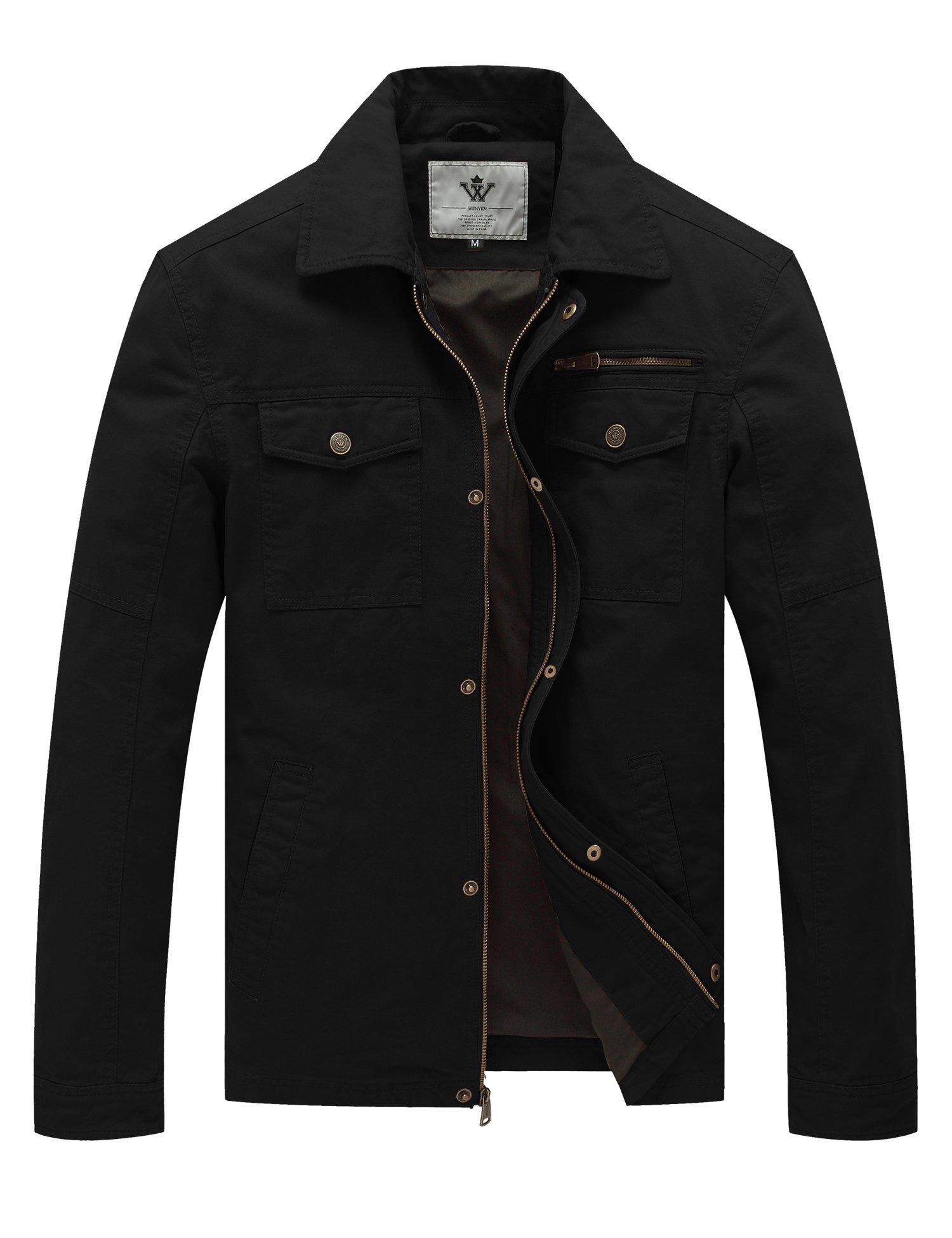 WenVen Men's Field Cotton Lined Jackets (Black, Size L)