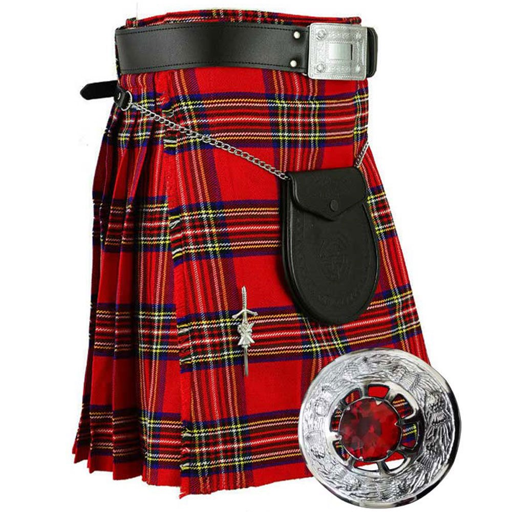 Highland Kilt Various Tartan 8 Yards with Fly Plaid Stone Brooch,Kilt Pin,Belt Buckle,Leather Sporran,Belt (32'', Royal Stewart Tartan)