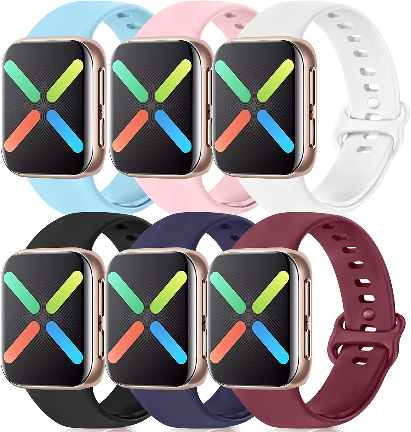 Silicone Bands Compatible with Apple Watch Bands 38mm 40mm 42mm 44mm, Soft Wristbands Compatible with iWatch Bands (Black/Navy Blue/Wine Red/Pink/White/Baby Blue, 42mm/44mm-S/M )