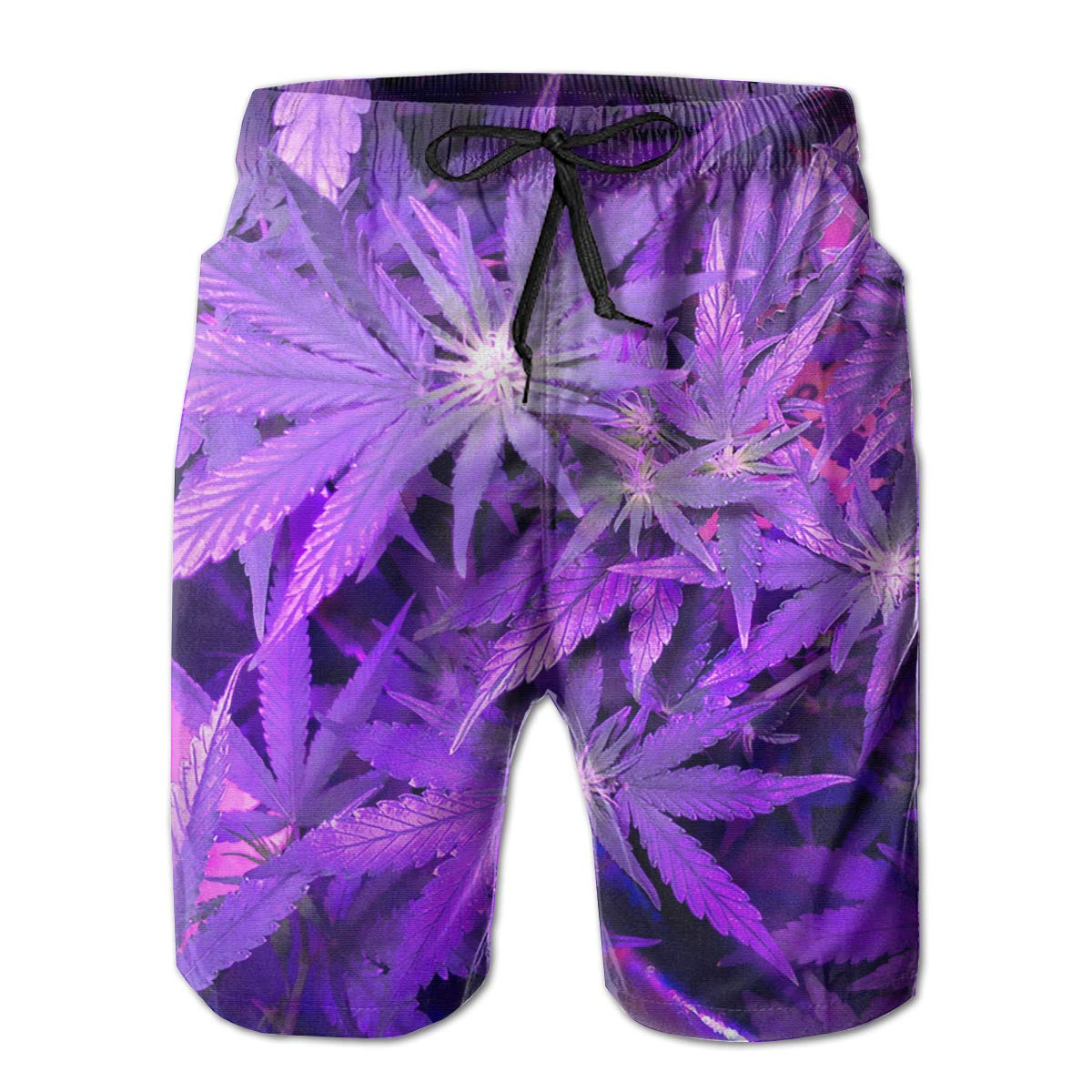 Purple Weed Leaf Mens Swim Trunks Board Beachwear Casual Beach Shorts for Men with Mesh Lining