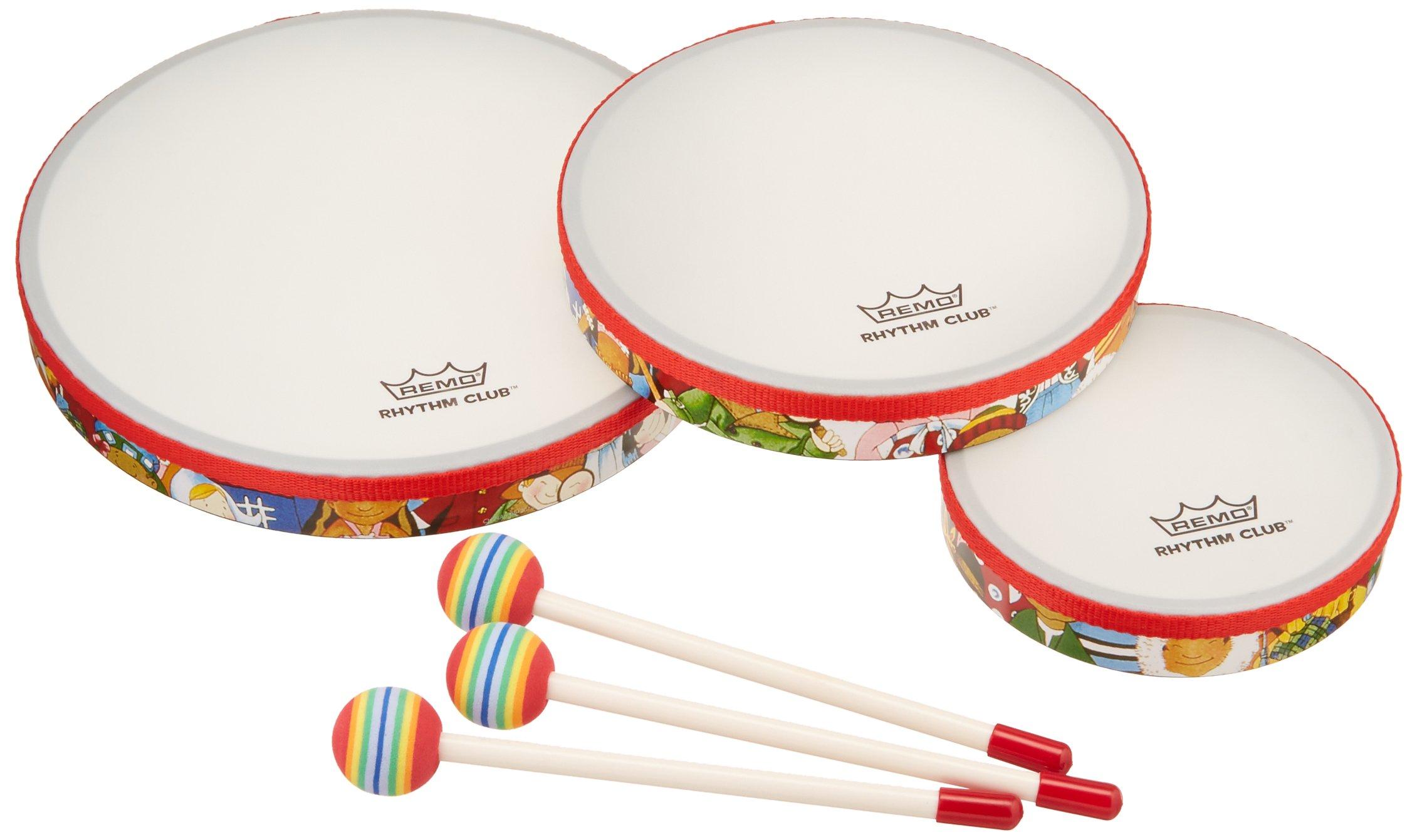 Remo RH3100-00 3-Piece Drum Set Multi-colored Rhythm Club Hand Drum Set, 6/8/10-Inch Diameters by Remo