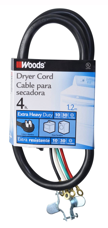 Woods 990768 10/4 30-Amp Dryer Power Supply Cord, Black, 4-Feet