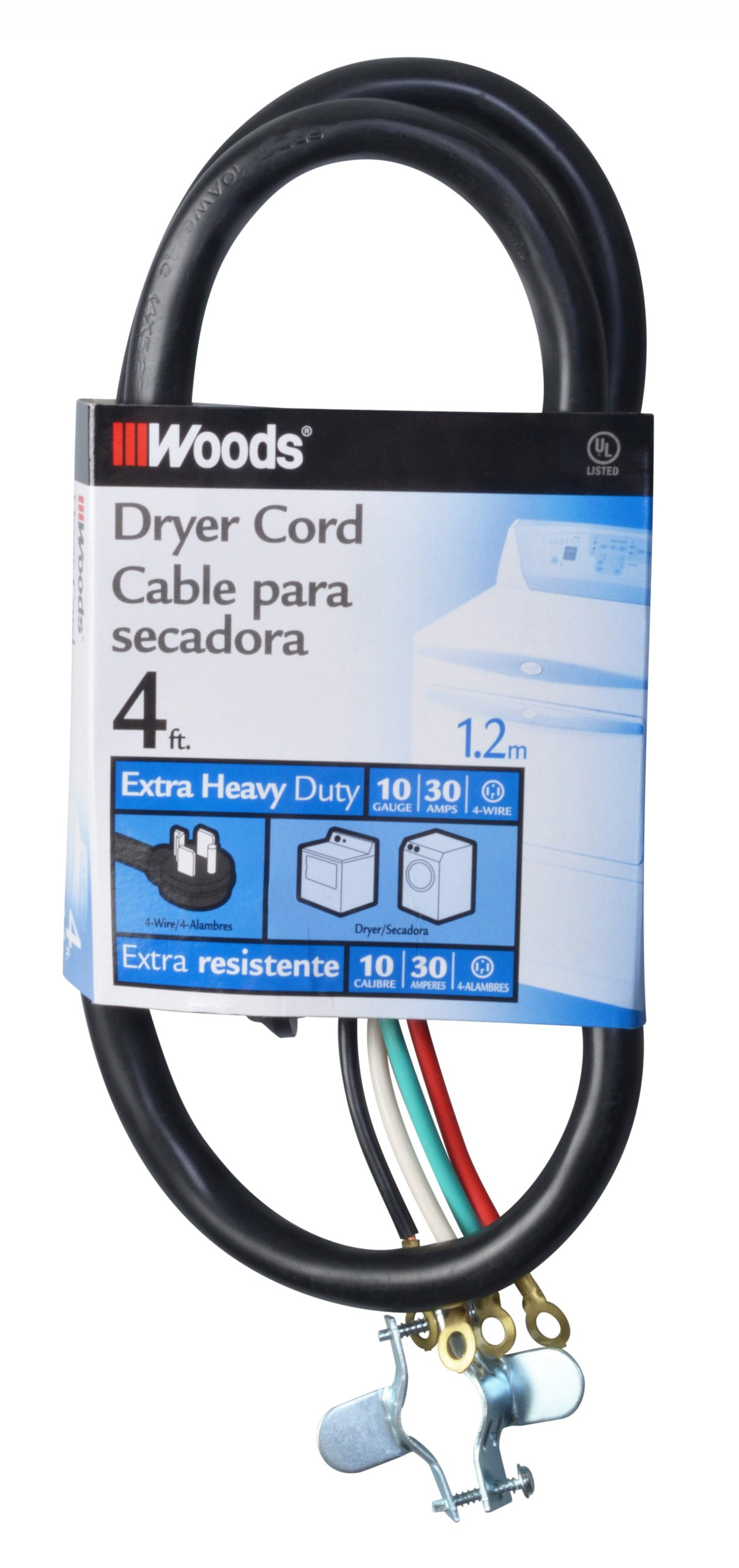 Woods 990768 10/4 30-Amp Dryer Power Supply Cord, Black, 4-Feet