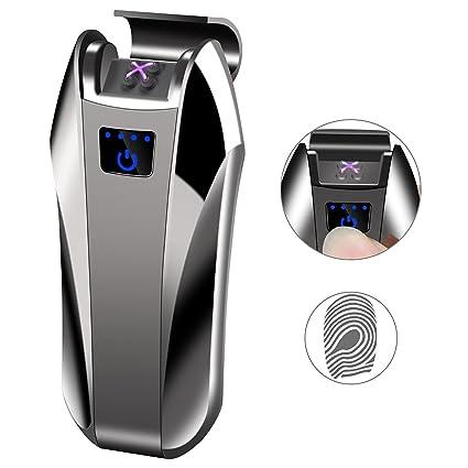Yangers - Encendedor eléctrico de cigarrillos con doble arco y batería recargable por USB, resistente al viento, sin gas Polishing Black