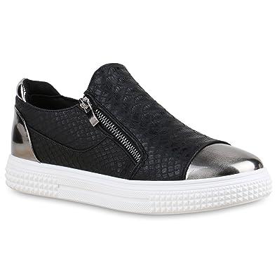 Stiefelparadies Damen Sneakers Zipper Metallic Cap Sneaker Low Kroko Print Sport Trainers Flach Turn Flats Slip-Ons Schuhe 134347 Schwarz 37 Flandell nL0SkE