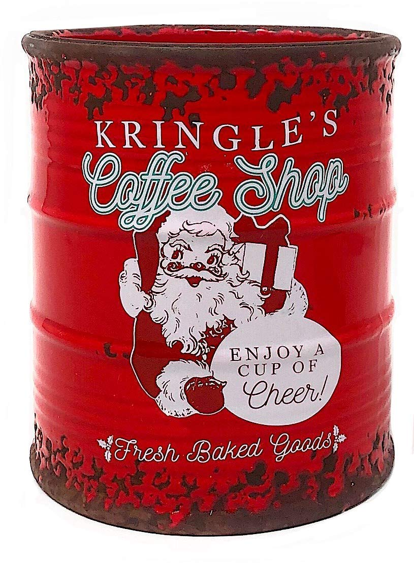 Buy Vintage Jar Antique Christmas Decor Ceramic Cookie Candy Peppermint Kitchen Organizer Decoration Red White Kringle S Santa Coffee Shop By Raz Imports Online At Low Prices In India Amazon In