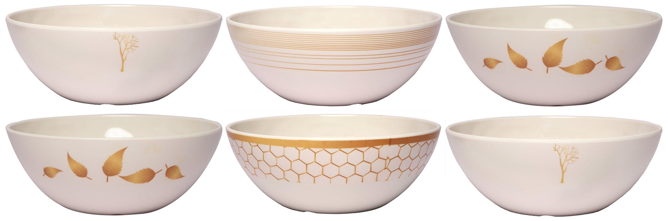 Melange 6-Piece 100% Melamine Bowl Set (Gold Nature Collection ) | Shatter-Proof and Chip-Resistant Melamine Bowls