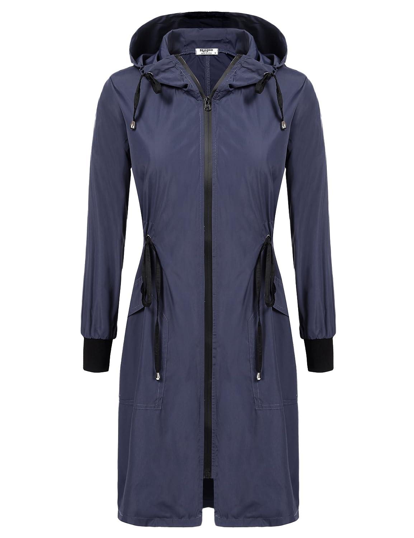 ELESOL Women's Lightweight Waterproof Raincoat Hood Long Outdoor Hiking Rain Jacket