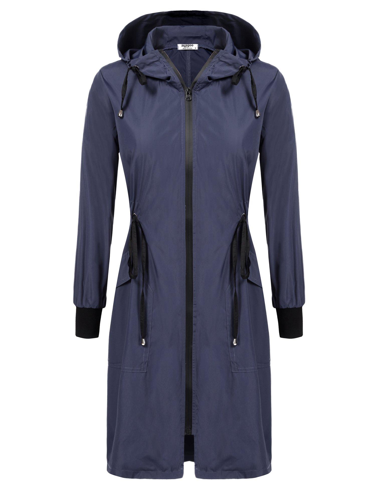 ELESOL Women's Waterproof Lightweight Hooded Drawstring Outdoor Raincoat Jacket,Navy Blue,L