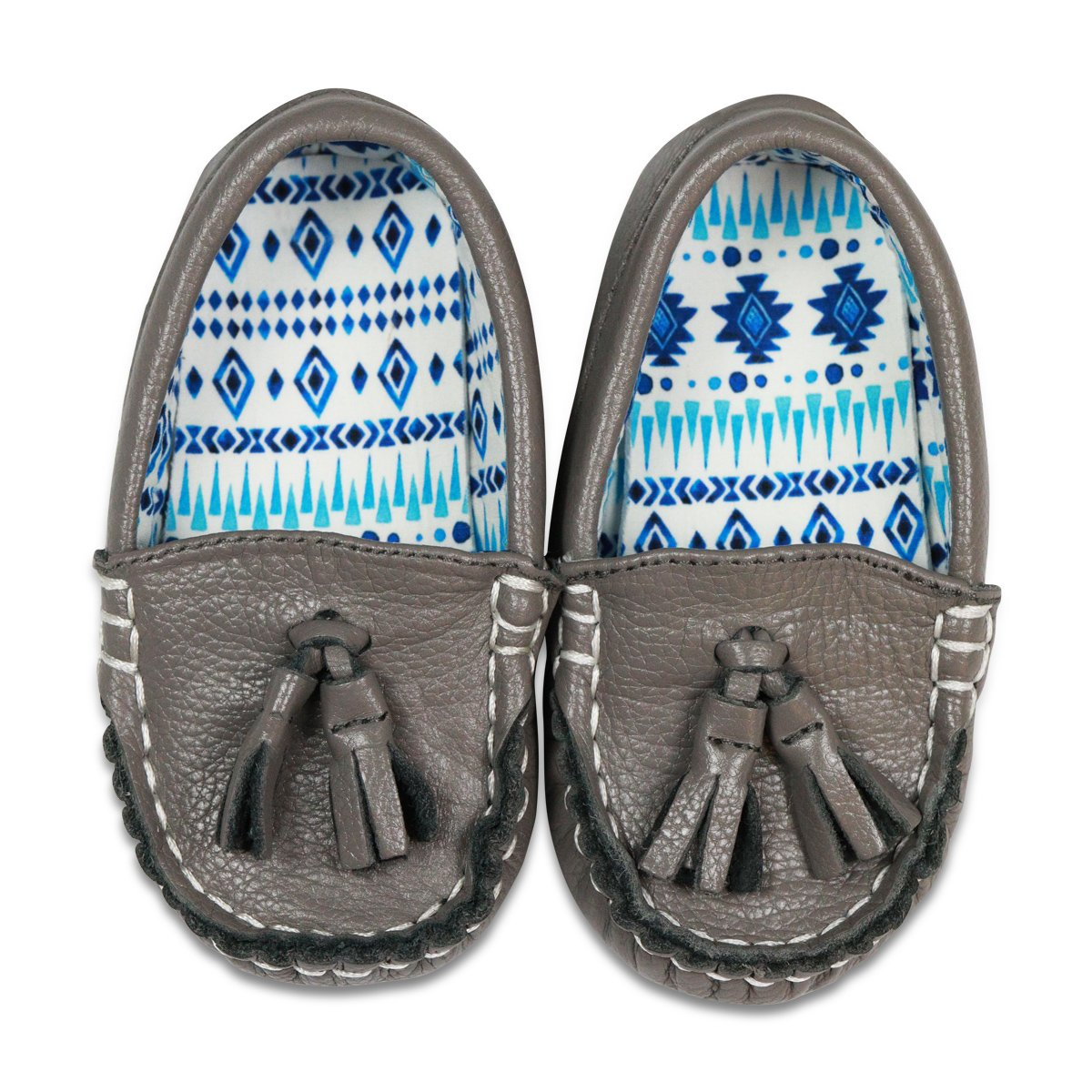 Boy and Girl Baby Pattern Moccasins 701822963947 Little Monkey Fashion Unisex Toddler Leather Shoes Size 9 Gray-Fiti