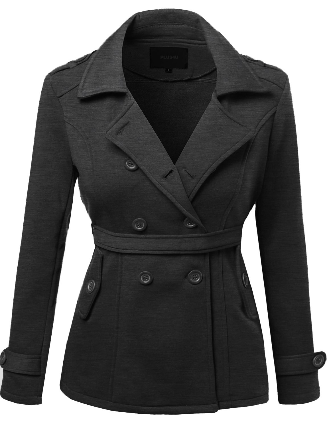 Beautiful Cotton Blend Classic Double Breasted Trench Coat Charcoal Size XL