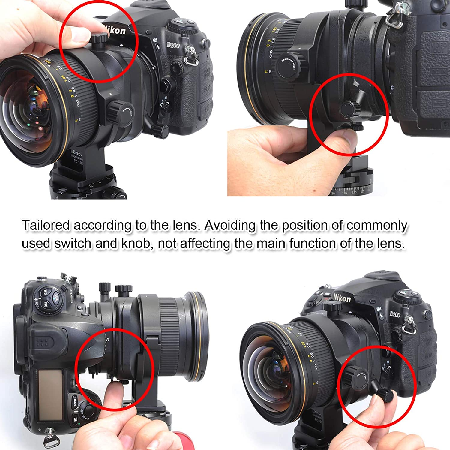 Camera Lens Collar Support for Nikon PC NIKKOR 19mm f//4E ED Tilt-Shift Lens Tripod Mount Ring Built-in 50mm Quick Release Plate Compatible with Tripod Ball Head of Arca-Swiss PMG SUNWAYFOTO