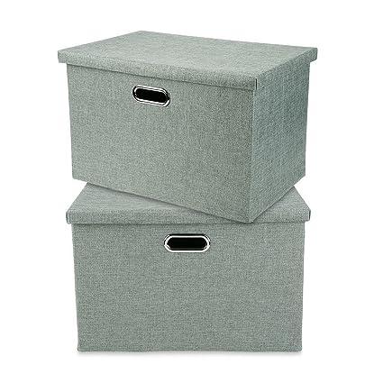 Caja de Almacenaje Gran Capacidad de Tela, Caja de Almacenamiento Plegable con Tapa, Firme