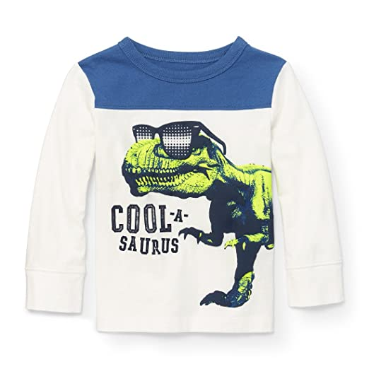 23d9b1c6b The Children's Place Baby Boys' Little December Football Long Sleeve Knit  Top, Simplywht 94059