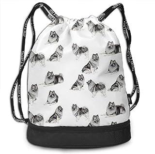 RAINNY Keeshonds Multifunctiona Drawstring Sport Backpack Foldable Sackpack