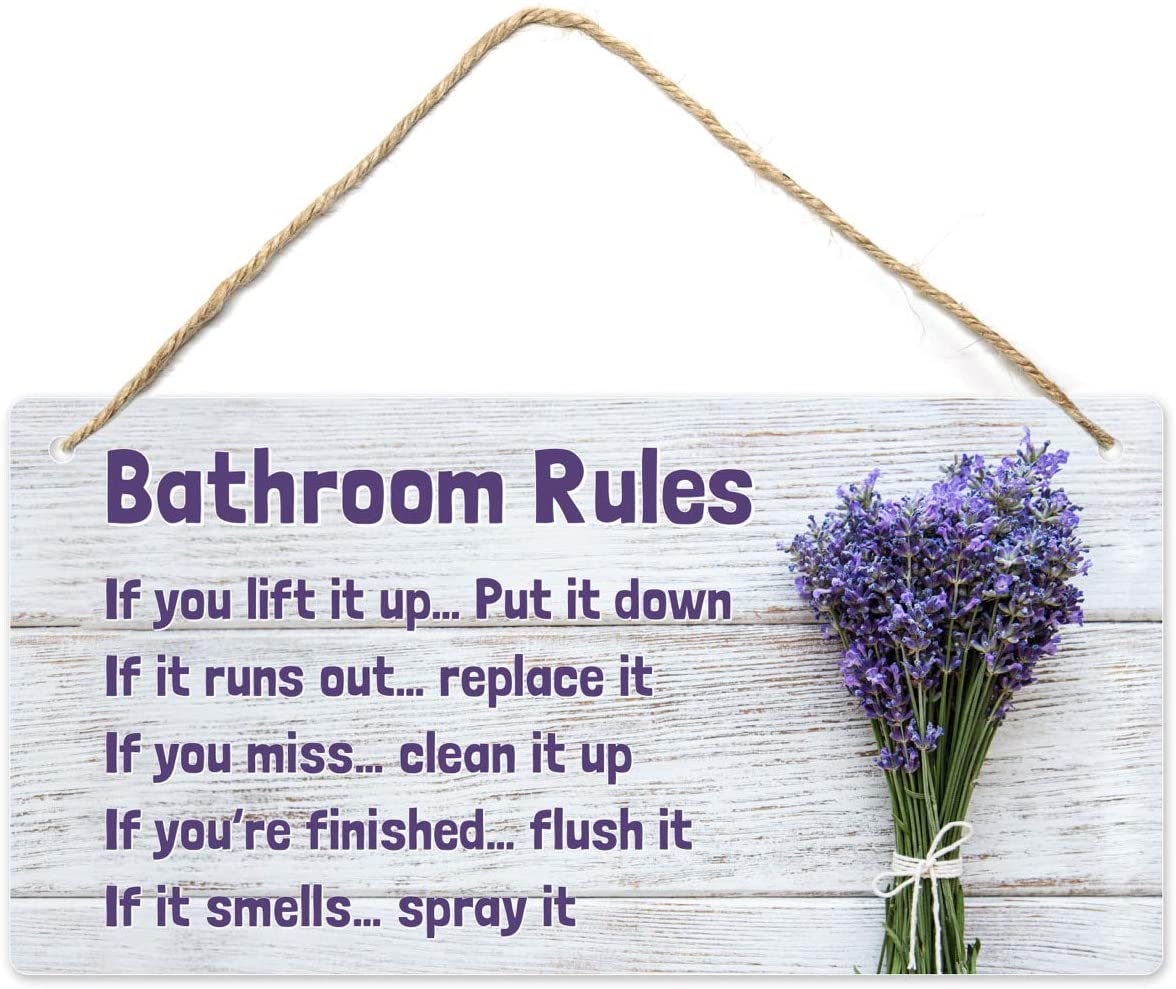 Fun-Plus Lavender Bathroom Decor, 12″x6″ PVC Plastic Wall Decoration Hanging Sign, High Precision Printing, Water and Humidity Proof, Bathroom Rules, Purple Bathroom Accessories, Lavender