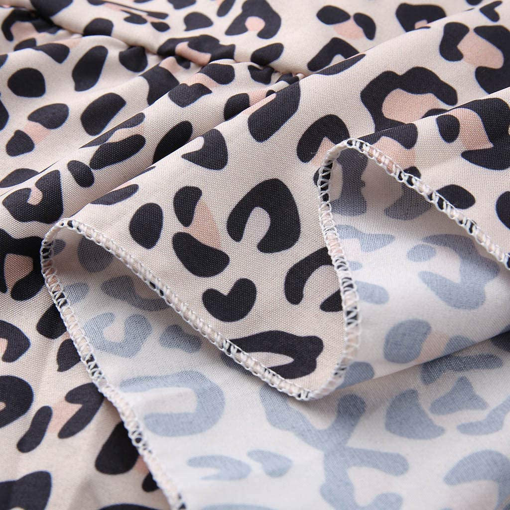 NREALY Blusa Womens Casual Loose Short Sleeve Leopard Printed Long T Shirt Tops Blouse