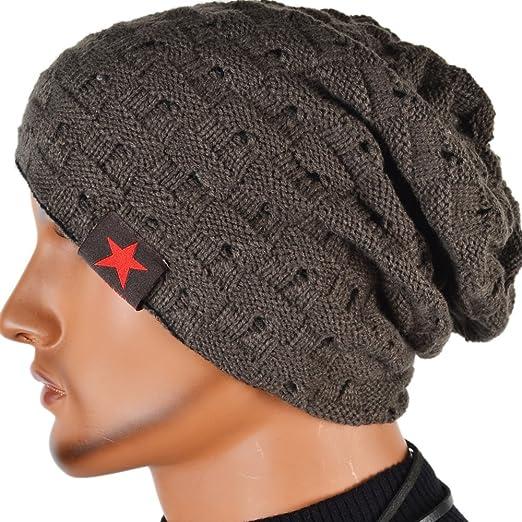 Men Reversible Slouchy Beanie Hat Unisex Skull Hat Dark Gray At