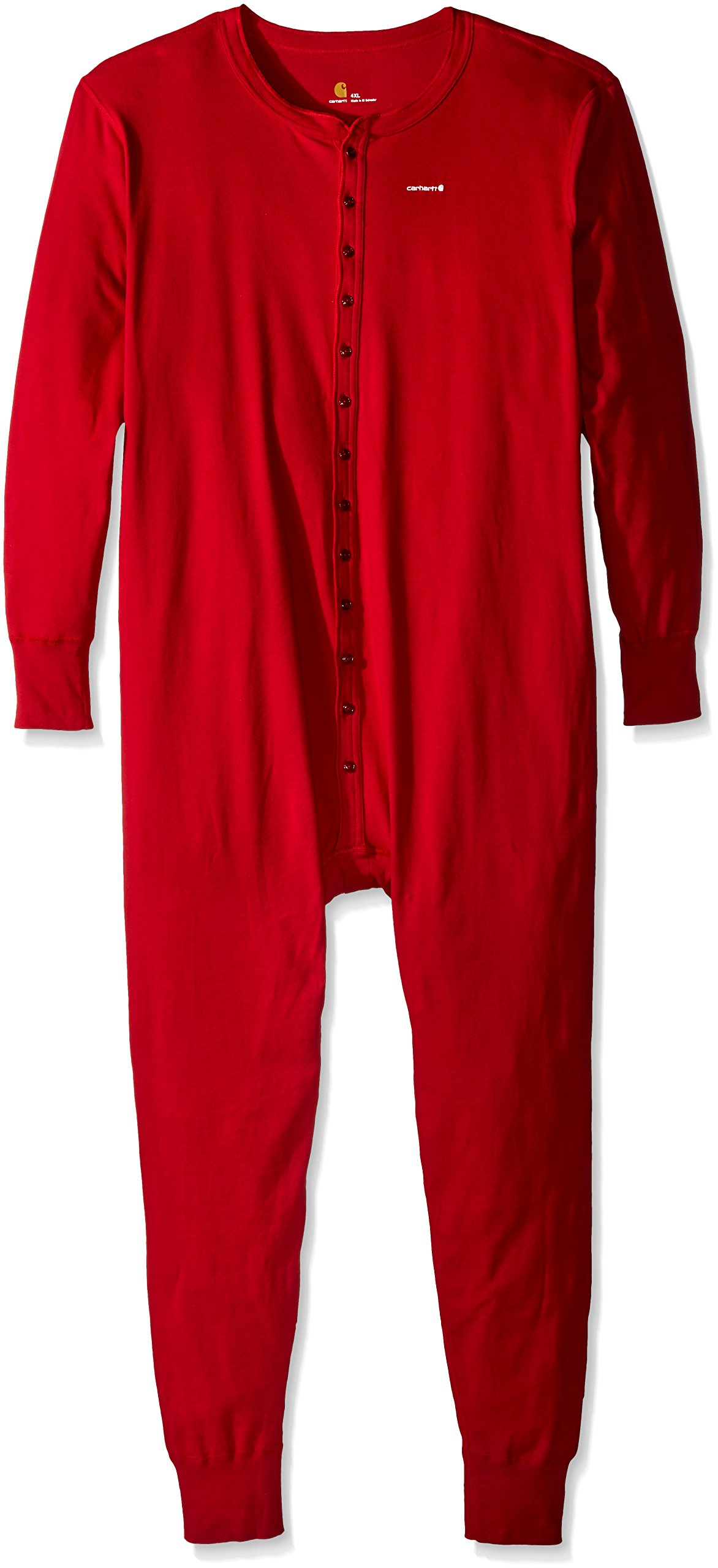 Carhartt Men's Big Big & Tall Midweight Cotton Union Suit, Red, 3X-Large/Tall