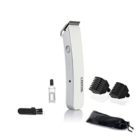 Nova NHT - 1046 Proffesional Rechargeable Cordless Beard Trimmer for Men( White )