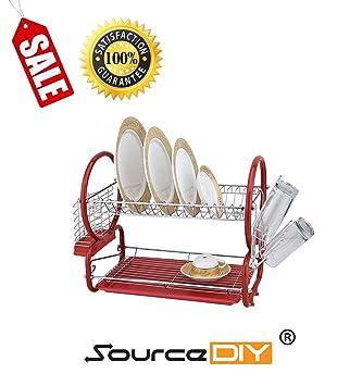 SourceDIY Deluxe escurreplatos Cromado. 2 Tier Multiuso Rojo Color cubertería Organizador con Drainboard & Cubiertos