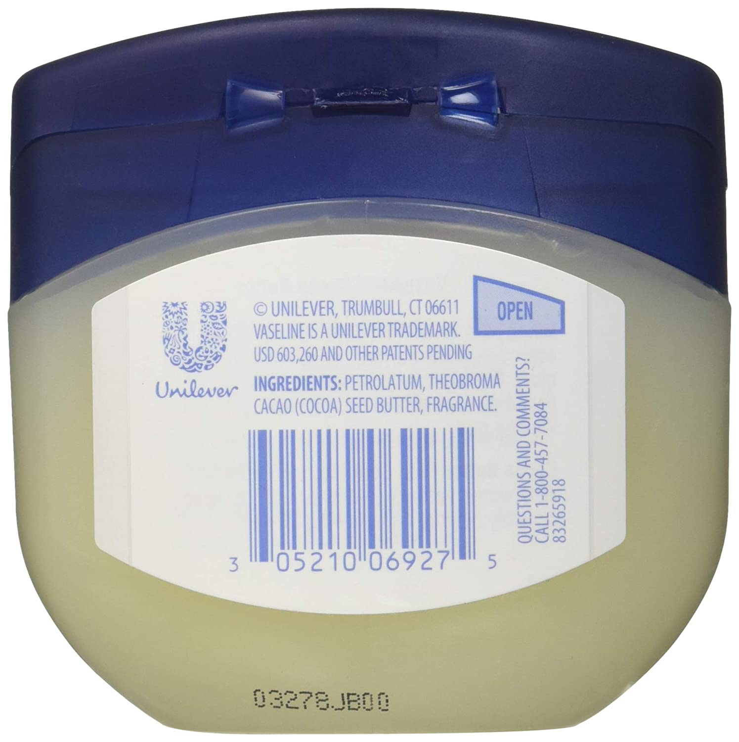 Vaseline Petroleum Jelly, Cocoa Butter 7.5 oz Pack of 6