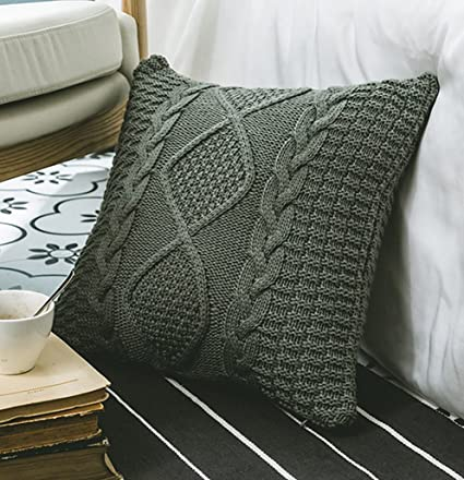 Amazon Anduuni Decorative Cotton Knitted Pillow Case Cushion