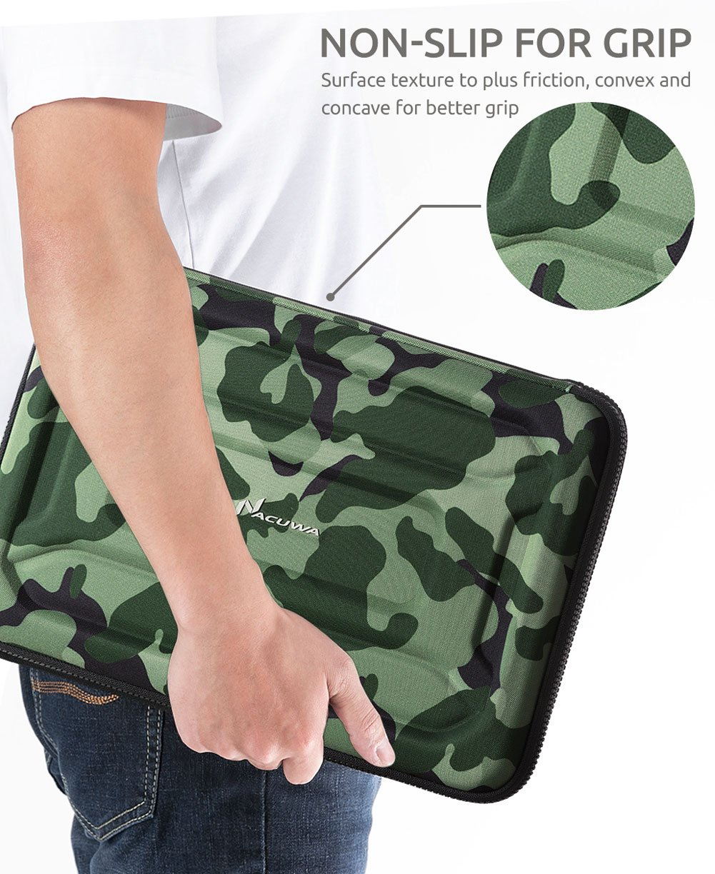 Protective Laptop Case: 13 - 13.3 Inch Computer Carrying Sleeve for 2018 New Macbook Air, Pro, Microsoft Surface or Chromebook - Padded, Waterproof and Shockproof Hard Lap Top Cover Cases - Camo by Nacuwa (Image #7)
